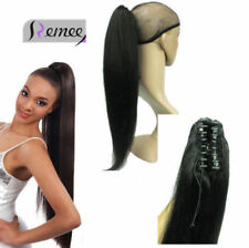 Long Straight Claw Jaw Clip In One Piece Ponytail 100% Human Remy Hair Extension