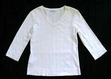 PROMOD White 3/4 Sleeves V-Neck T-Shirts Size L