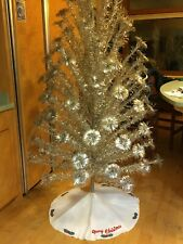Vintage Evergleam Christmas Tree 6' Stainless Aluminum 99 Branches Pom Poms