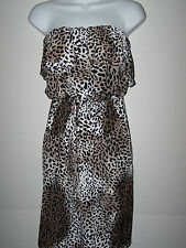 NWT AVIVA PLUS SIZE CHEETAH PRINT STRAPLESS DRESS DRAWSTRING WAIST SZ 1X BROWN