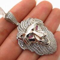 925 Sterling Silver Swarovski Crystals Lion / Leo Zodiac Sign Design Pendant