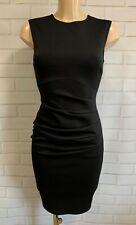 Black Ruch Front Scuba Wiggle Pencil Smart Office Shift Dress Size 8-18