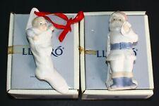Vintage Lladro Christmas Ornaments 5842 Santa Claus 5839 Babys First Xmas In Box