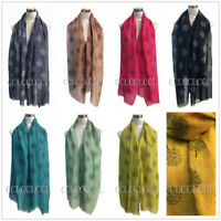 Women Ladies Long scarf with Life Tree Mulberry Tree Pattern Print Shawl Scarf