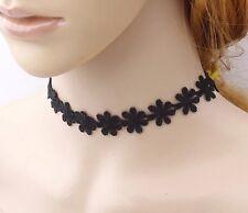 2pcs Black Velvet & Lace Flower Choker Gothic Ribbon Tattoo Necklace N94