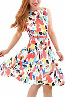 NWT Retro Knee-Length Swing Dress Sleeveless Belted Colorful Sz XL FREE SHIPPING