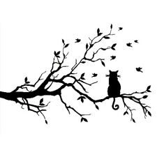 Cat On Long Tree Branch Birds Wall Decal Transfers Window-38*58cm CT