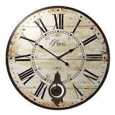 Reloj De Pared Shabby Chic De Péndulo PARIS French Vintage 58 Cm Extra Grande En Caja