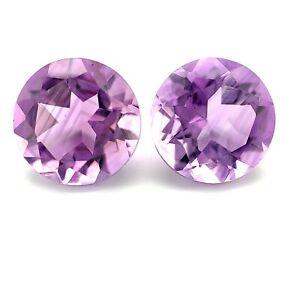 3.7tcw  Purple Amethyst Rounds Pair Clean IF Brazil NaturalGemstone *Video*