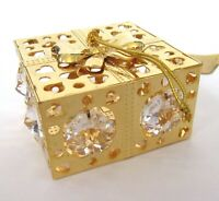 Ornament  GIFT BOX   24k gold plated- Austrian crystals --clear- holiday