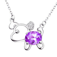 Natural Amethyst Sterling Silver Puppy Necklace Pendants Gifts for Her