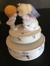 Enesco Happily Ever After Porcelain Music Box - Bride & Groom Wedding Cake NIB