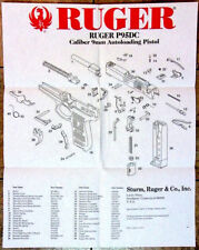 """1998 Ruger P95DC Decocker Semi Automatic Pistol Rare 25"""" x 20"""" Fold Out Poster!"""