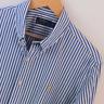 Mens Polo Ralph Lauren Blue White Stripe Long Sleeve Shirt Size XL Extra Large