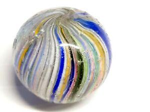 19th century German Latticino glass Marble 2.4 Inches across.