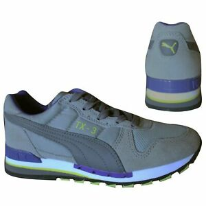 Puma TX-3 Mens Lace Up Mens Grey Purple Leather Textile Trainers 341044 43 B95C
