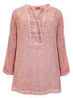Thea ladies blouse top shirt plus size 24 26 28 30 dusky pink stud embellished