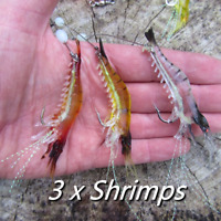 3 Luminous soft rubber shrimp prawn saltwater baits tuna bass pollack lures bait