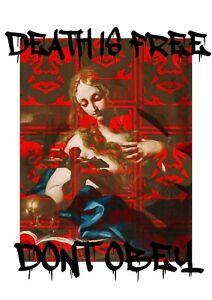 "*45x32cm Death NYC Ltd Ed LARGE Signed Graffiti Pop Art Print ""Dont obey 1"""