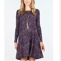 MATILDA JANE Women's LARGE Navy Blue Floral NEW RESOLUTION Knit Long Slv DRESS