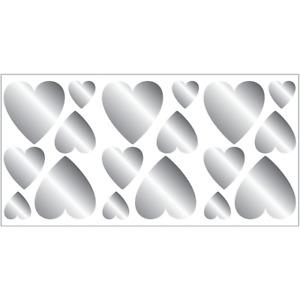 Fun4Walls Silver Hearts Wall Sticker Peel Stick Removable & Reusable Wall Decor
