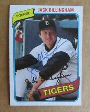 1980 TOPPS BASEBALL JACK BILLINGHAM #603 AUTOGRAPH SIGNED CARD DETROIT TIGERS