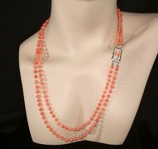Peachy Salmon Shaded Colors Chinese Coral 2-Strand Necklace With Coral Clasp