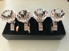 Napkin Rings, Set of 4, Clear Diamante/Chrome Finish