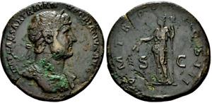 Hadrian. Exquisite Scarce Sestertius circa AD 119-123 Ancient Roman Bronze Coin