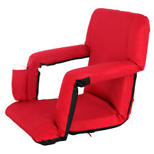 Stadium Seat Red Reclining Bleacher Chair Folding Perfect For Bleacher Lawn