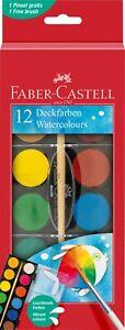 Faber-Castell Watercolour Paint Set - Box of 12 colours + brush