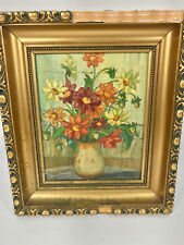 ANTIQUE OIL PAINTING FLOWERS BY GERMAN ARTIST HORST BAUER LEIPZIG