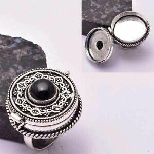 Black Onyx Ethnic Handmade Poison Ring Jewelry US Size-8.5 AR 31692