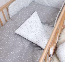 4 Pièces Housses de couette lit bébé ENSEMBLE DE LITERIE 120x90cm-STARS blanc & gris