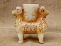 "6"" Handcarved old antique white jade double sheep dragon vase pot"