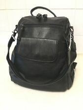 UTO Ladies Black PU Faux Leather 3 Way Zip Up Backpack Rucksack Bag Handbag