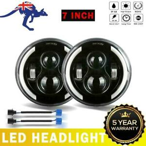"""Pair 7"""" inch Round LED Headlights Kit Offroad Truck 4x4 For Hummer H1H2 Benz GMC"""