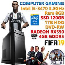 PC COMPUTER GIOCO GAMING QUAD CORE i5-3470 RAM 8GB SSD 120GB HDD 1TB RX 550 4GB