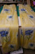 "One pair of lined Retro curtain's Blue Poppy approx 107"" wide 55"" drop each"