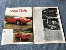 "1988 Pontiac Firebird Formula Vintage New Car Info Article ""Cheap Thrills"""