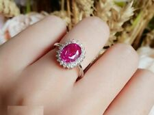 3.16ct Oval Cut Pink Sapphire Engagement Ring 14k White Gold Finish Halo Floral