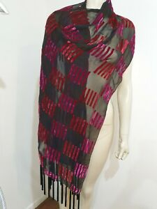 Pure Silk Black Scarf with Silk Velvet Pattern with Fringe