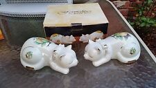 Formalities by Baum Bros. Set of 2 Sleeping Cat Figurines with Gold Accents NEW!