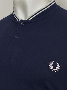 Fred Perry   Short Sleeve Bomber Collar Pique Polo Shirt XXL (Navy) Mod Ska 60s