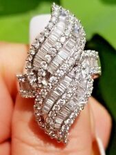 Huge 3 Ct Diamond Wave Fashion Cluster 925 Sterling Silver Engagement Woman Ring