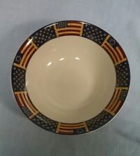 """COVENTRY STONEWARE LIBERTY PATRIOTIC SERVING BOWL 9"""" STARS AND FLAGS"""