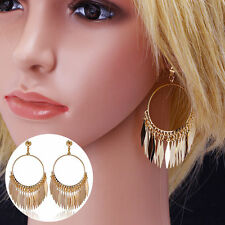 Gold Plated Hoop Fringe Earrings 6cms x 3cms Sent In A Velvet Gift Bag 1ST CLASS