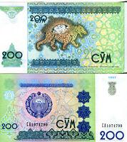 Uzbekistan / Usbekistan 200 Sum Banknote kassenfrisch 1997 UNC.