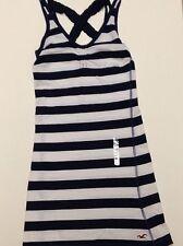 NWT Hollister Navy Blue White Sundress Womens Juniors Missses Dress XS X Small