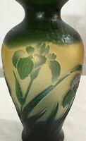 """EXQUISITE GALLE SIGNED SUPER REPRODUCTION ACID ETCHED FLORAL CAMEO GLASS VASE 8"""""""